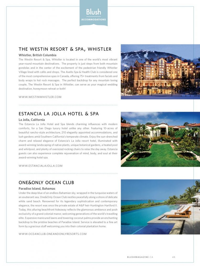 Blush Magazine Hotel & Resort Picks - Fall Winter 2014 Issue