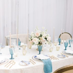 Lindsey + Anthony: Traditional British Wedding - Blue and white tablescape